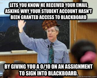 Lets you know he received your email asking why your student account hasn't been granted access to blackboard By giving you a 0/10 on an assignment to sign into Blackboard. - Lets you know he received your email asking why your student account hasn't been granted access to blackboard By giving you a 0/10 on an assignment to sign into Blackboard.  Scumbag Professor