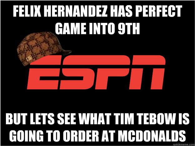 Felix Hernandez has perfect game into 9th but lets see what tim tebow is going to order at mcdonalds - Felix Hernandez has perfect game into 9th but lets see what tim tebow is going to order at mcdonalds  Misc