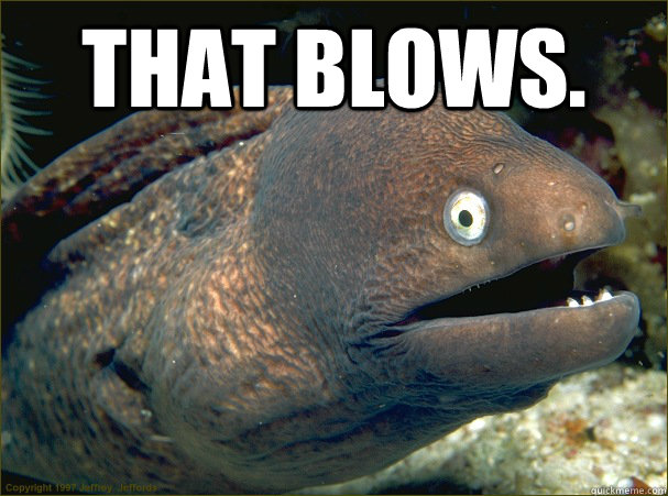 That blows. - That blows.  Bad Joke Eel