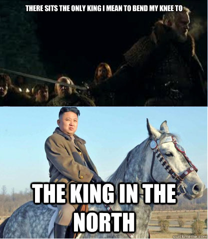 There sits the only king i mean to bend my knee to The king in the north  King in the north