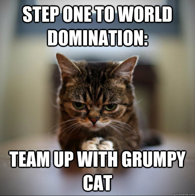 Step one to world domination: team up with grumpy cat