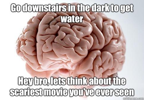 Go downstairs in the dark to get water Hey bro, lets think about the scariest movie you've ever seen  - Go downstairs in the dark to get water Hey bro, lets think about the scariest movie you've ever seen   Scumbag Brain