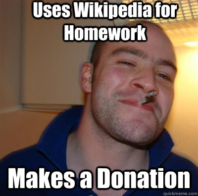 Uses Wikipedia for Homework Makes a Donation