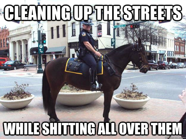 Cleaning up the streets while shitting all over them - Cleaning up the streets while shitting all over them  Horse Cop