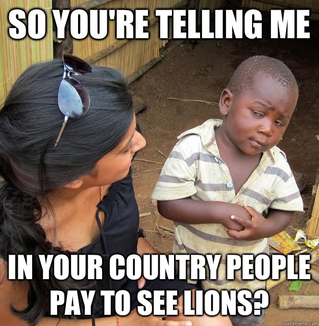 So you're telling me In your country people pay to see lions? - So you're telling me In your country people pay to see lions?  Skeptical Third World Child