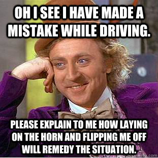 OH I see i have made a mistake while driving. Please explain to me how laying on the horn and flipping me off will remedy the situation.  - OH I see i have made a mistake while driving. Please explain to me how laying on the horn and flipping me off will remedy the situation.   Condescending Wonka