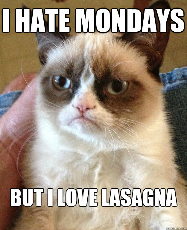 I hate mondays But I love lasagna - I hate mondays But I love lasagna  Grumpy Cat