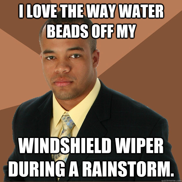 I love the way water beads off my windshield wiper during a rainstorm. - I love the way water beads off my windshield wiper during a rainstorm.  Successful Black Man