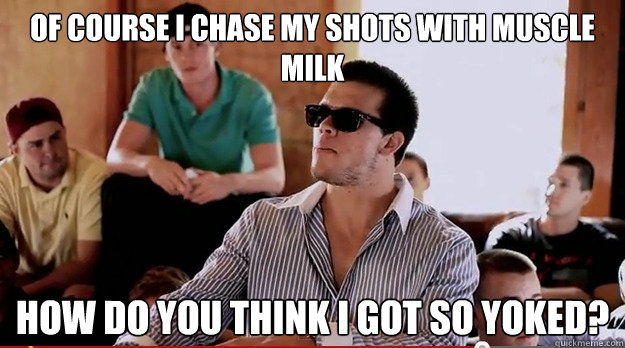Bodybuilder dating meme about bitches chasing