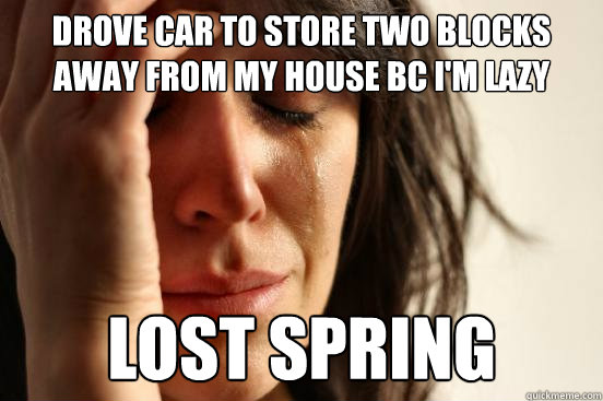 drove car to store two blocks away from my house bc i'm lazy lost spring  First World Problems