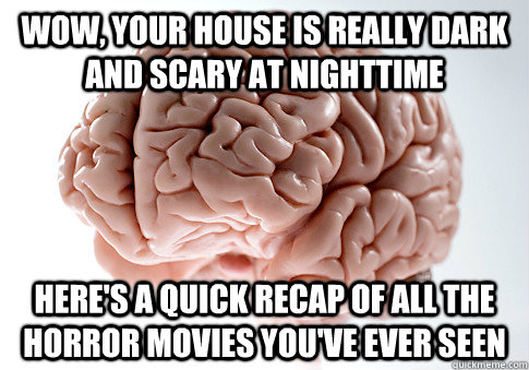 Wow, your house is really dark and scary at nighttime Here's a quick recap of all the horror movies you've ever seen - Wow, your house is really dark and scary at nighttime Here's a quick recap of all the horror movies you've ever seen  Scumbag Brain
