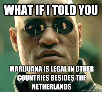 What if I told you Marijuana is legal in other countries besides the Netherlands - What if I told you Marijuana is legal in other countries besides the Netherlands  What if I told you