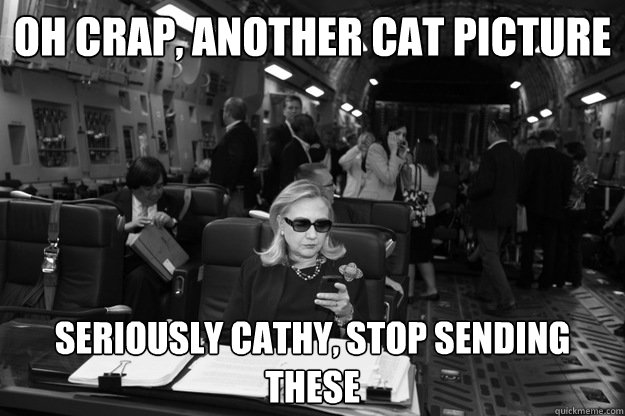 Oh crap, another cat picture Seriously Cathy, stop sending these  Badass Hillary
