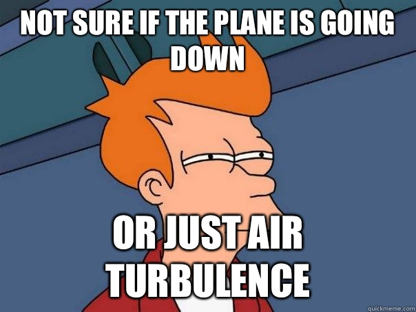 Not sure if the plane is going down Or just air turbulence - Not sure if the plane is going down Or just air turbulence  Futurama Fry