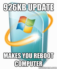 926kb update Makes you reboot computer