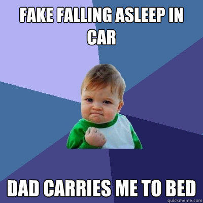 Fake falling asleep in car dad carries me to bed - Fake falling asleep in car dad carries me to bed  Success Kid