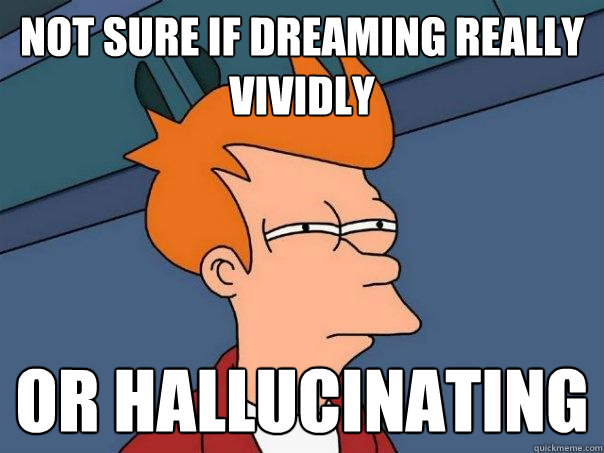 Not sure if dreaming really vividly or hallucinating  - Not sure if dreaming really vividly or hallucinating   Futurama Fry