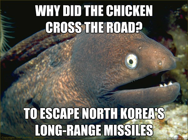 WHY DID THE CHICKEN  CROSS THE ROAD?  TO ESCAPE NORTH KOREA'S  LONG-RANGE MISSILES  Bad Joke Eel