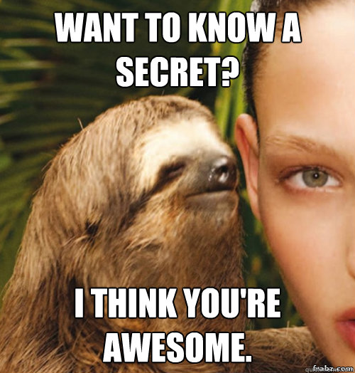 Want to know a secret? I think you're awesome. - Want to know a secret? I think you're awesome.  rape sloth