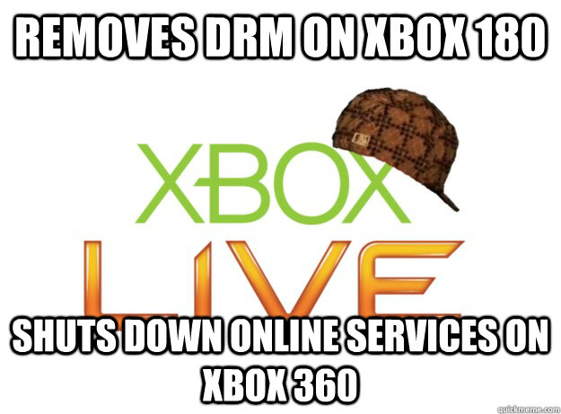 Removes DRM on Xbox 180  SHUTS DOWN ONLINE SERVICES ON XBOX 360 - Removes DRM on Xbox 180  SHUTS DOWN ONLINE SERVICES ON XBOX 360  Scumbag Xbox Live