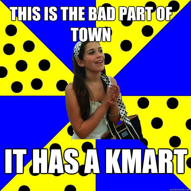THIS IS THE BAD PART OF TOWN IT HAS A KMART  Sheltered Suburban Kid