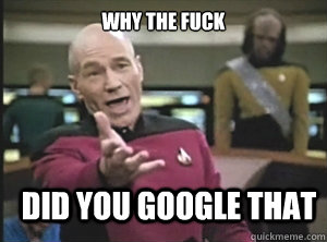 why the fuck did you google that - why the fuck did you google that  Annoyed Picard