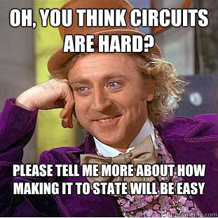 Oh, you think circuits are hard? Please tell me more about how making it to state will be easy - Oh, you think circuits are hard? Please tell me more about how making it to state will be easy  Condescending Wonka