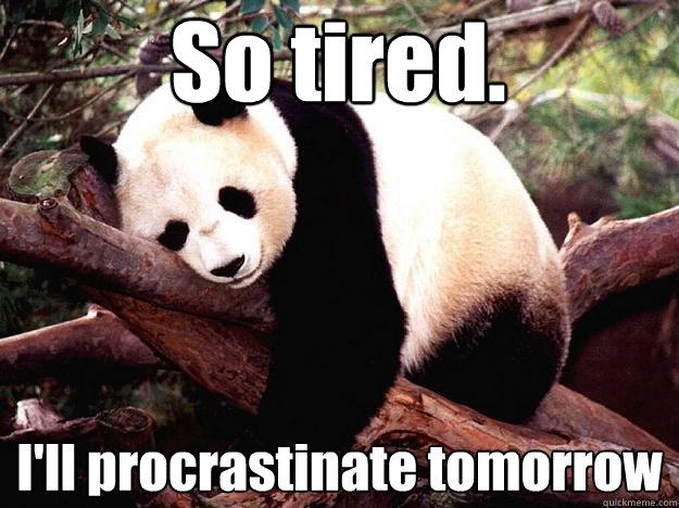 So tired. I'll procrastinate tomorrow  Procrastination Panda
