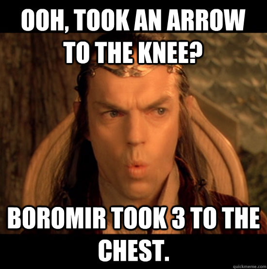 Ooh, took an arrow to the knee? Boromir took 3 to the chest. - Ooh, took an arrow to the knee? Boromir took 3 to the chest.  Elrond Sarcasm
