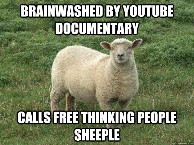 BRAINWASHED BY YOUTUBE DOCUMENTARY CALLS FREE THINKING PEOPLE SHEEPLE