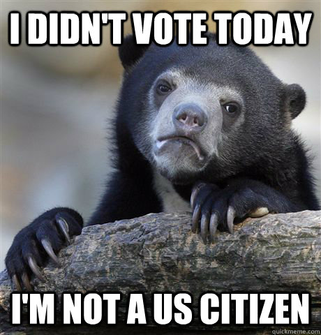 I didn't vote today I'm not a US citizen - I didn't vote today I'm not a US citizen  Confession Bear