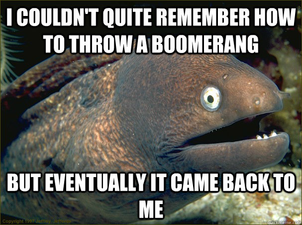 I couldn't quite remember how to throw a boomerang but eventually it came back to me - I couldn't quite remember how to throw a boomerang but eventually it came back to me  Bad Joke Eel
