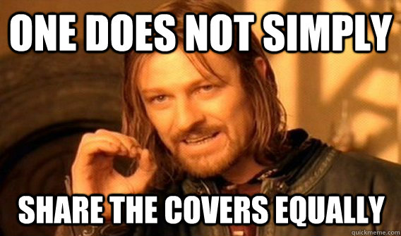 One does not simply share the covers equally - One does not simply share the covers equally  Boromir