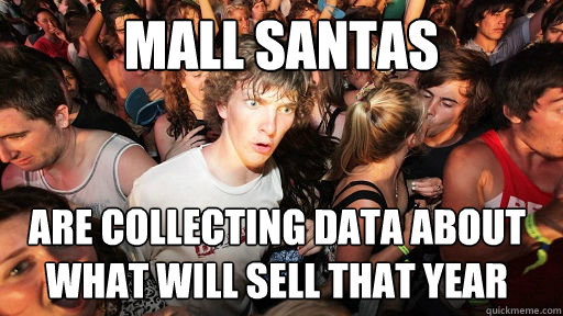 Mall Santas Are collecting data about what will sell that year  - Mall Santas Are collecting data about what will sell that year   Sudden Clarity Clarence