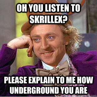 Oh you listen to skrillex? Please explain to me how underground you are - Oh you listen to skrillex? Please explain to me how underground you are  Condescending Wonka
