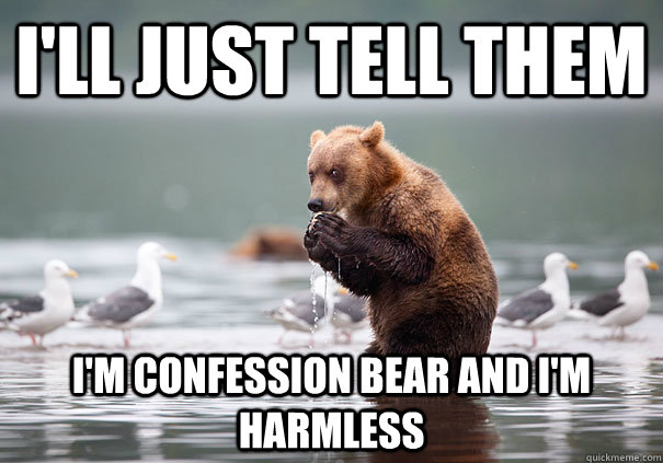 I'll just tell them i'm confession bear and i'm harmless