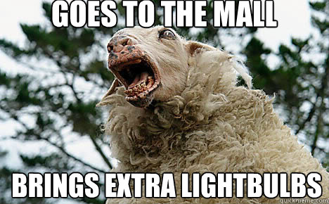 Goes to the mall Brings extra lightbulbs - Goes to the mall Brings extra lightbulbs  Meth Sheep