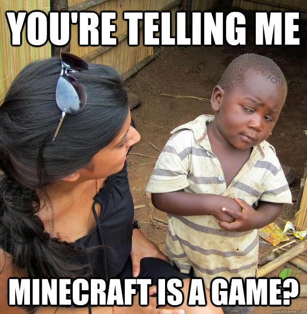 You're telling me minecraft is a game? - You're telling me minecraft is a game?  Skeptical Third World Baby