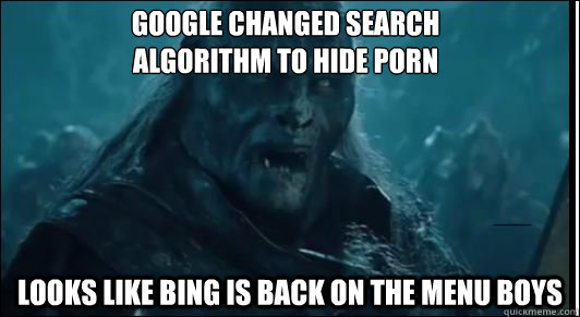 Google changed search  algorithm to hide porn Looks like Bing is back on the menu boys - Google changed search  algorithm to hide porn Looks like Bing is back on the menu boys  Misc