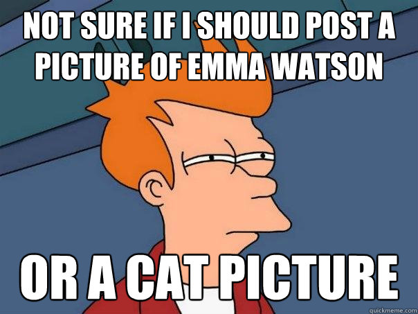 Not sure if I should post a picture of Emma Watson Or a cat picture