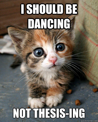 I should be dancing Not Thesis-ing  Thesis Kitten