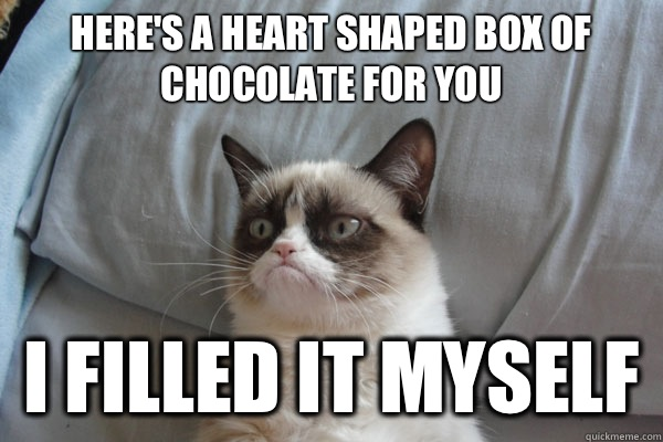 Here's a heart shaped box of chocolate for you I filled it myself