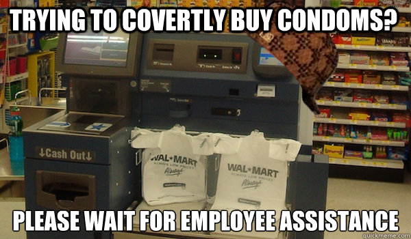 Trying to covertly buy condoms? Please wait for employee assistance