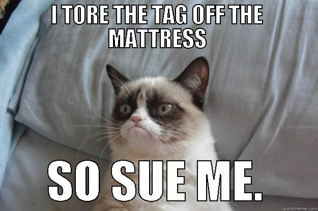 I TORE THE TAG OFF THE MATTRESS SO SUE ME. Grumpy Cat