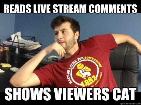 Reads live stream comments shows viewers cat