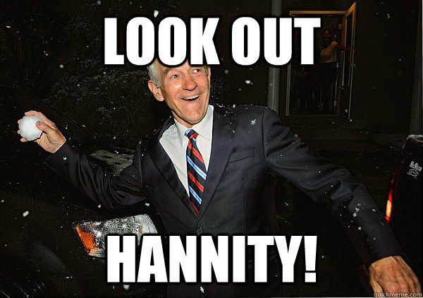 look out Hannity! - look out Hannity!  Ron Paul Snowball Fight