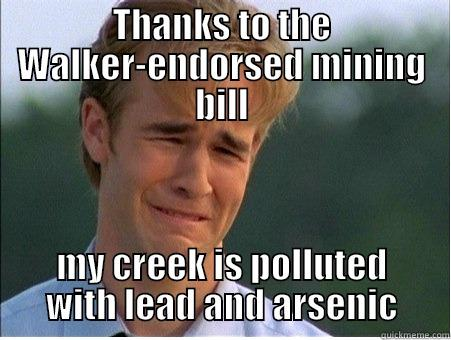 THANKS TO THE WALKER-ENDORSED MINING BILL MY CREEK IS POLLUTED WITH LEAD AND ARSENIC 1990s Problems