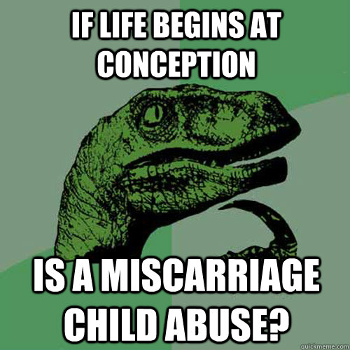 If life begins at conception is a miscarriage child abuse? - If life begins at conception is a miscarriage child abuse?  Philosoraptor