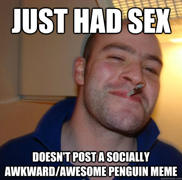 just had sex doesn't post a socially awkward/awesome penguin meme - just had sex doesn't post a socially awkward/awesome penguin meme  Misc