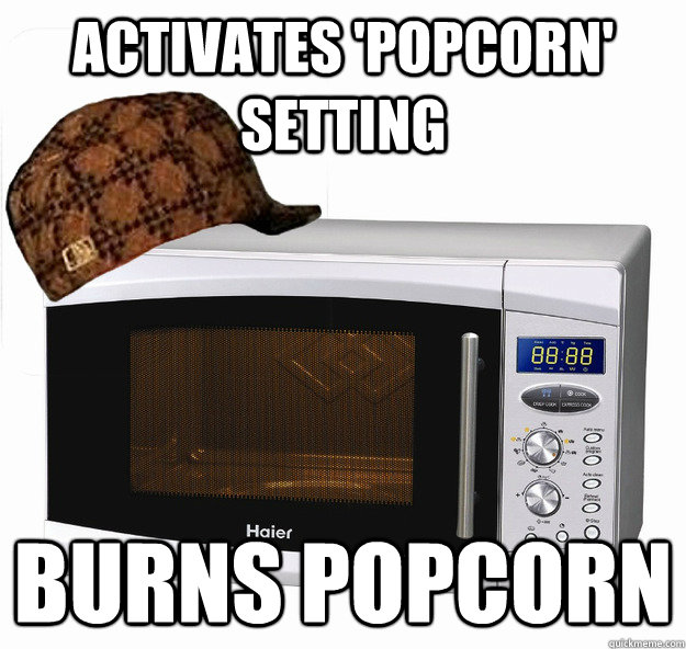 activates 'popcorn' setting burns popcorn